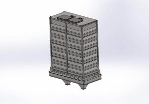 A rendering of a drying aeration bin.