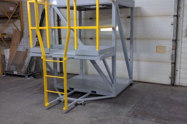 A totebox unload station set up in a warehouse.