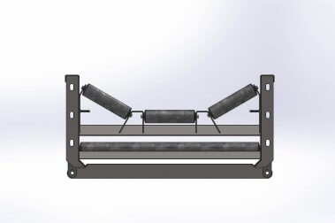 A rendering of a tri-roller conveyor.