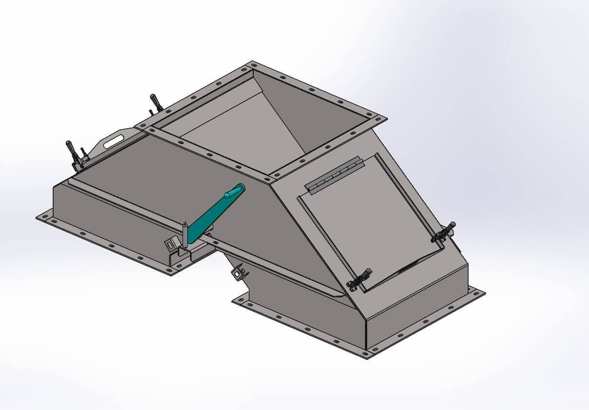 A rendering of a wye-k valve.